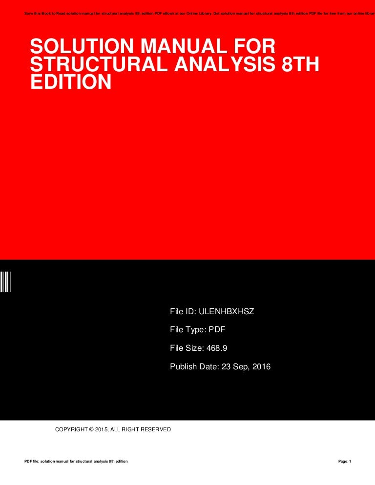 structural analysis 8th edition solution manual scribd