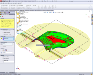 solidworks parting surface manual mode